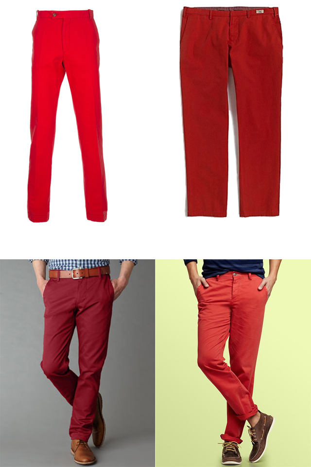 Men's Red Cotton Chinos